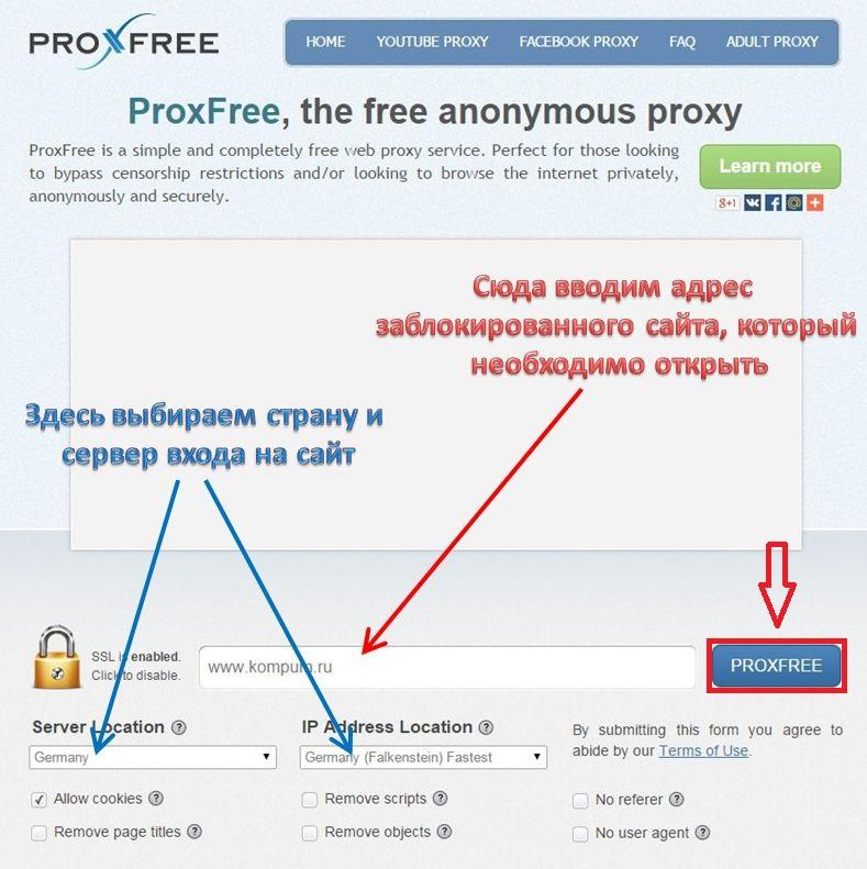 Настройки ProxFree